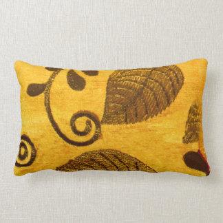 Gold Leaves Swirl Lumbar Cushion