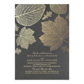 Gold Leaves Vintage Rustic Fall Wedding Card