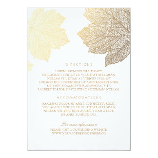 Gold Leaves White Wedding Details - Information 11 Cm X 16 Cm Invitation Card