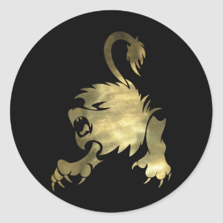 Gold Leo Lion Classic Round Sticker