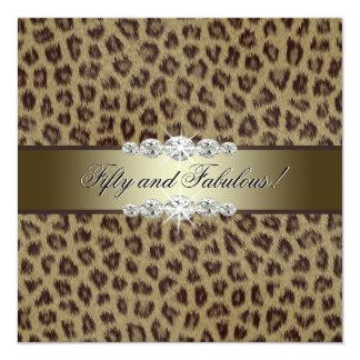 Gold Leopard 50th Birthday Party 13 Cm X 13 Cm Square Invitation Card