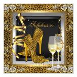 Gold Leopard Black High Heels Shoes Birthday Custom Invite