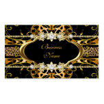 Gold Leopard Black Jewel Look Image Double-Sided Standard Business Cards (Pack Of 100)