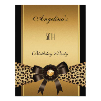Gold Leopard Coffee Brown Black 50th Birthday 2 11 Cm X 14 Cm Invitation Card