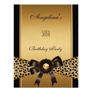 Gold Leopard Coffee Brown Black 50th Birthday 2 Custom Invitation