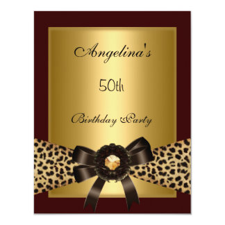 Gold Leopard Coffee Brown Black 50th Birthday 3 Card