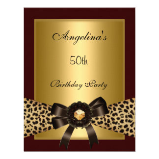 Gold Leopard Coffee Brown Black 50th Birthday 3 Custom Announcements