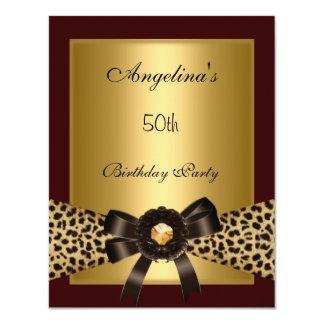 Gold Leopard Coffee Brown Black 50th Birthday 3 Custom Announcements