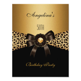 Gold Leopard Coffee Brown Black 50th Birthday 4.25x5.5 Paper Invitation Card