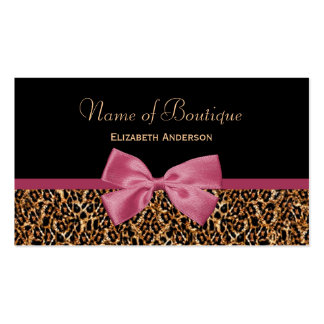 Gold Leopard Fur Chic Mauve Pink Bow Boutique Pack Of Standard Business Cards