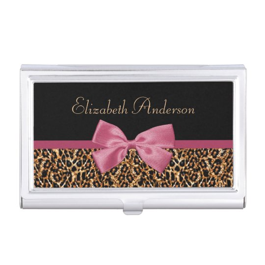 Gold Leopard Fur Chic Sangria Pink Bow With