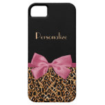 Gold Leopard Fur Chic Sangria Pink Bow With Name iPhone 5 Cases