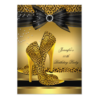 Gold Leopard High Heel Black Bow Birthday Party 2 4.5x6.25 Paper Invitation Card