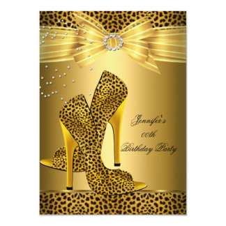 Gold Leopard High Heel Black Bow Birthday Party 4.5x6.25 Paper Invitation Card
