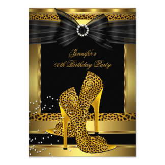 Gold Leopard High Heel Shoe Black Birthday Party 11 Cm X 16 Cm Invitation Card