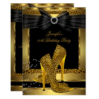 Gold Leopard High Heel Shoe Black Birthday Party Card