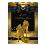 Gold Leopard High Heel Shoe Black Birthday Party Custom Invite