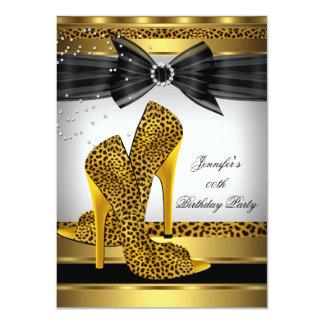 Gold Leopard High Heel Shoe Silver Birthday Party Invitation
