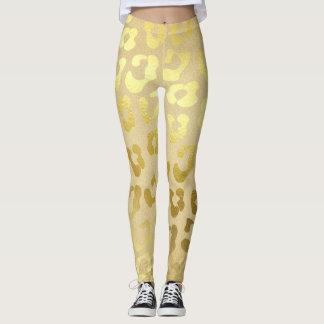 Gold leopard print dress leggings