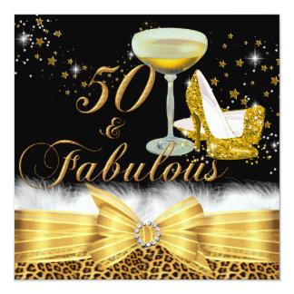 Gold Leopard Print & Heels 50 & Fabulous Birthday 13 Cm X 13 Cm Square Invitation Card