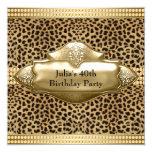 Gold Leopard Womans Birthday Party 13 Cm X 13 Cm Square Invitation Card