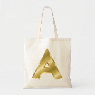 Gold Letter A Tote Bag