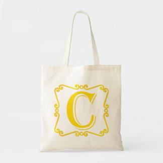 Gold Letter C Canvas Bags