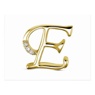 "GOLD LETTER "" E ""WITH DIAMONDS POSTCARD"