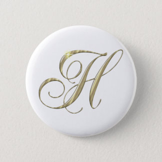 Gold Letter H Monogram Initial Gift 6 Cm Round Badge
