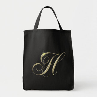 Gold Letter H Monogram Initial Gift Grocery Tote Bag