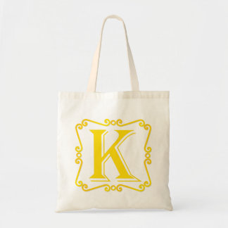 Gold Letter K Canvas Bags