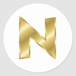 Gold Letter N Round Sticker