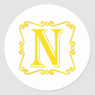 Gold Letter N Round Stickers