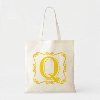 Gold Letter Q Canvas Bag