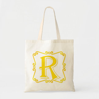 Gold Letter R Tote Bags