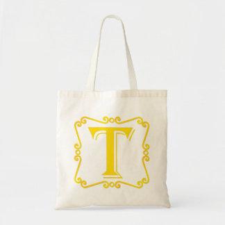 Gold Letter T Tote Bag