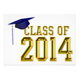 Gold Lettering Graduation Cap Class of 2013 Personalized Announcement