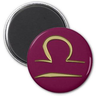 gold libra 6 cm round magnet