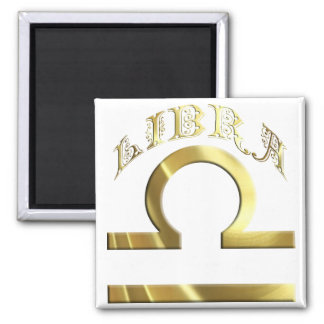 Gold Libra Symbol Astrology Zodiac Square Magnet