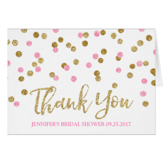 Gold Light Pink Confetti Bridal Shower Thank You Card