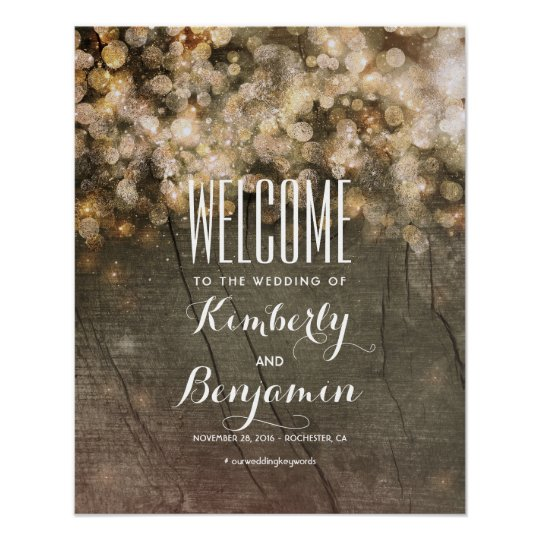 Gold Lights Rustic Country Wedding Welcome Sign