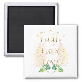 Gold Lilac Floral Faith Hope Love Magnet