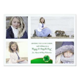 Gold Lined Shamrock Photo Card 13 Cm X 18 Cm Invitation Card