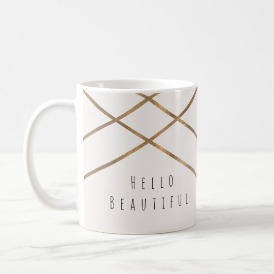 Gold Lines Modern Geometric Glam Beautiful Custom Coffee