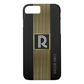 gold lines monogram / monogrammed black iPhone 8/7 case