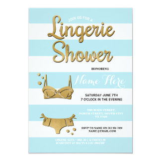 Gold Lingerie Shower Blue Bridal Invitation