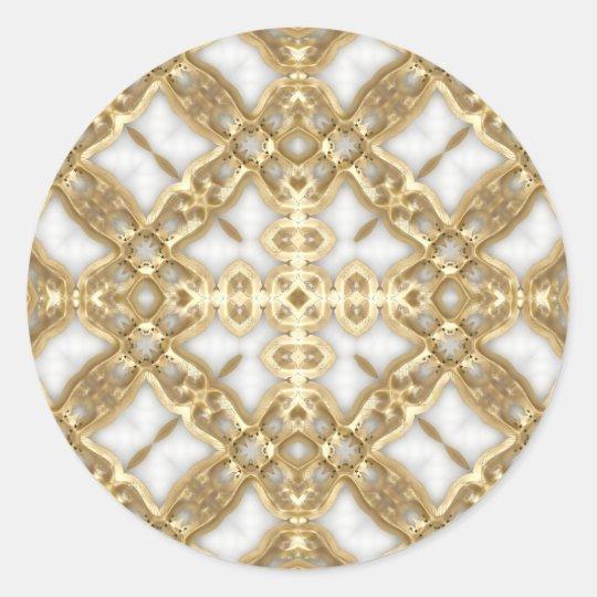Gold Link Cross Classic Round Sticker