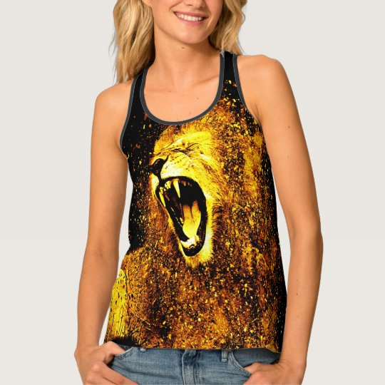 Gold Lion Head All Over Print Top