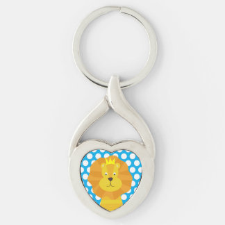 Gold Lion on Blue Dotted Key Chain Silver-Colored Twisted Heart Key Ring