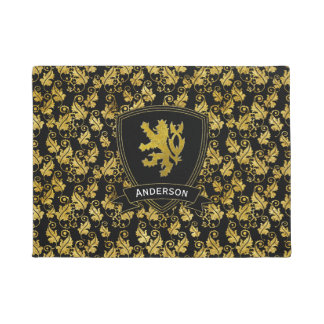 Gold Lion Rampant Foliage Your Color Doormat